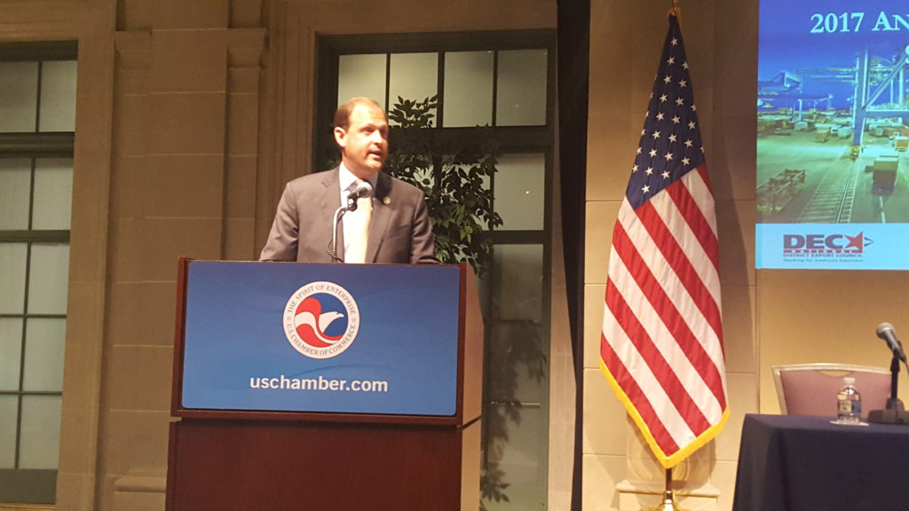 Rep Andy Barr addressing the DEC members and exporters at National District Export Council Symposium